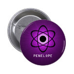 Nerdy Atomic Button, Purple 2 Inch Round Button