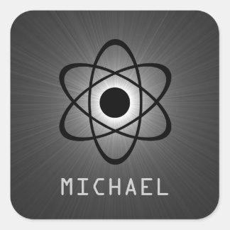 Nerdy Atomic Customizable Stickers, Gray Square Sticker