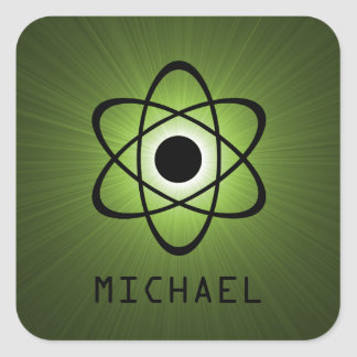Nerdy Atomic Customizable Stickers, Green Square Sticker