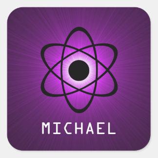 Nerdy Atomic Customizable Stickers, Purple Square Sticker