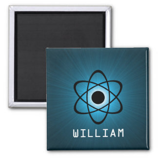 Nerdy Atomic Magnet, Blue 2 Inch Square Magnet