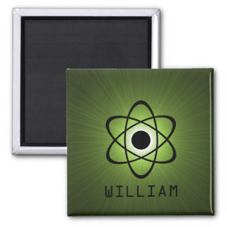 Nerdy Atomic Magnet, Green 2 Inch Square Magnet