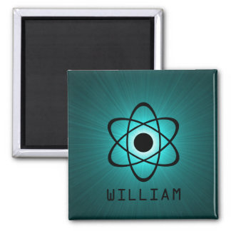 Nerdy Atomic Magnet, Teal 2 Inch Square Magnet