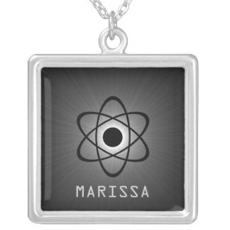 Nerdy Atomic Necklace, Gray Square Pendant Necklace