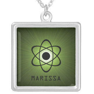 Nerdy Atomic Necklace, Green Square Pendant Necklace