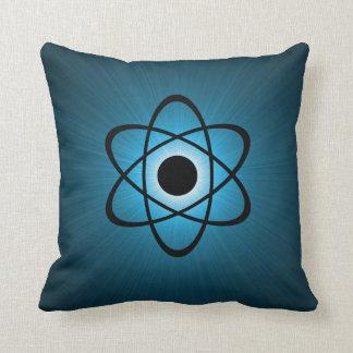 Nerdy Atomic Pillow, Blue Throw Pillow