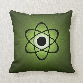 Nerdy Atomic Pillow, Green Throw Pillow