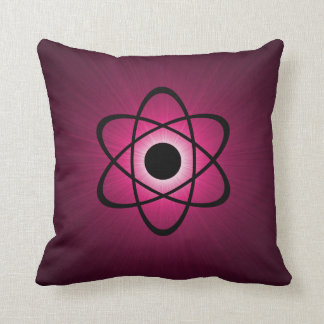 Nerdy Atomic Pillow, Pink Throw Pillow