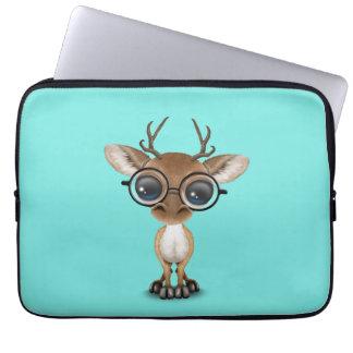 Nerdy Baby Deer Wearing Glasses Laptop Sleeve