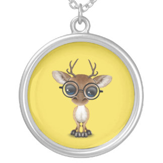 Nerdy Baby Deer Wearing Glasses Silver Plated Necklace