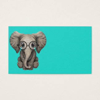 Nerdy Baby Elephant Wearing Glasses Business Card