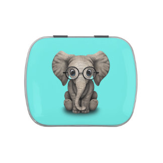 Nerdy Baby Elephant Wearing Glasses Candy Tins