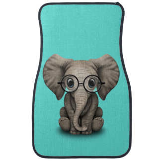 Nerdy Baby Elephant Wearing Glasses Car Floor Mat