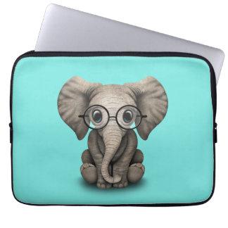 Nerdy Baby Elephant Wearing Glasses Computer Sleeve