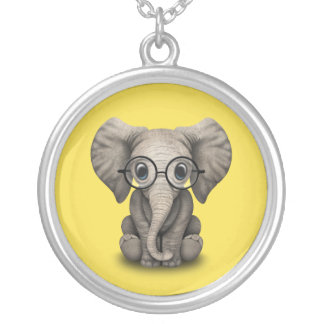 Nerdy Baby Elephant Wearing Glasses Silver Plated Necklace