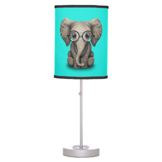 Nerdy Baby Elephant Wearing Glasses Table Lamp