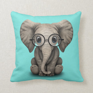 Nerdy Baby Elephant Wearing Glasses Throw Pillow