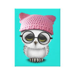 Nerdy Baby Owl Wearing Pussy Hat Canvas Print
