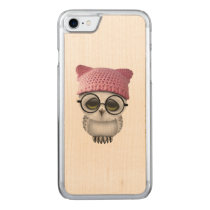 Nerdy Baby Owl Wearing Pussy Hat Carved iPhone 7 Case