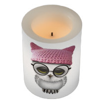 Nerdy Baby Owl Wearing Pussy Hat Flameless Candle