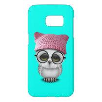 Nerdy Baby Owl Wearing Pussy Hat Samsung Galaxy S7 Case