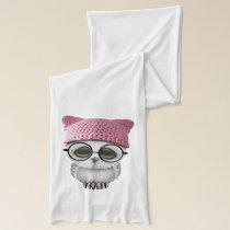 Nerdy Baby Owl Wearing Pussy Hat Scarf