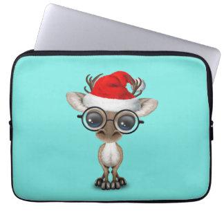 Nerdy Baby Reindeer Wearing a Santa Hat Computer Sleeve