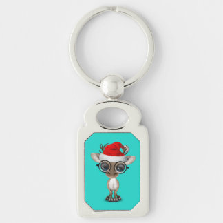 Nerdy Baby Reindeer Wearing a Santa Hat Keychain