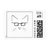 Nerdy cat postage