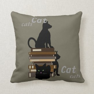 Nerdy Cats Books Geeky Pillows Kitties Cat Pets