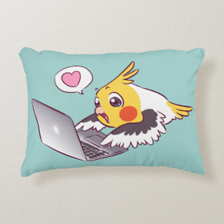 Nerdy cockatiel cute drawing Macbook bird parrot Decorative Pillow