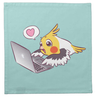 Nerdy cockatiel cute drawing Macbook bird parrot Napkin