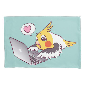 Nerdy cockatiel cute drawing Macbook bird parrot Pillowcase