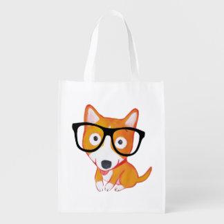 nerdy corgi grocery bag