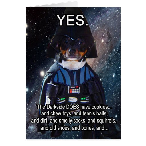Nerdy Dog does the Darkside Greeting Card