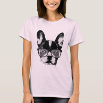Nerdy French Bulldog Cute Dog T-Shirt