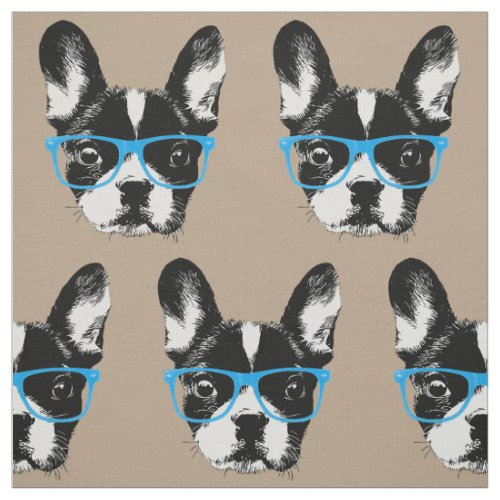 Nerdy French Bulldog Hipster Dog Pattern Beige Fabric