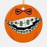 Nerdy Geeky de la mueca malvada de Halloween de la Adorno Redondo De Cerámica
