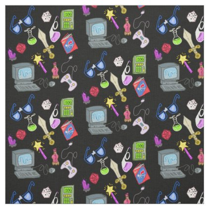 Nerdy Geeky Essentials Cartoon Illustration Fabric