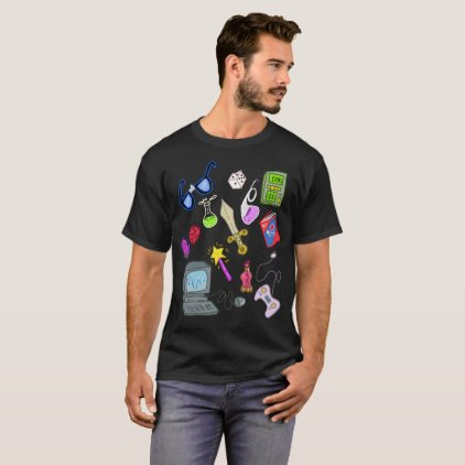 Nerdy Geeky Essentials Cartoon Illustration Shirt