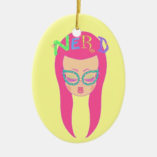Nerdy Girl Ceramic Ornament