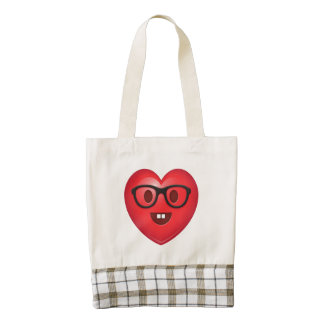 Nerdy Heart Emoji Zazzle HEART Tote Bag