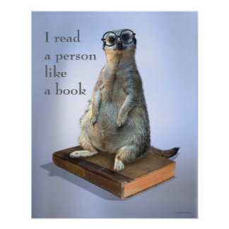 Nerdy hipster Meerkat, quotes Poster