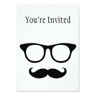 Nerdy Mustache Man 5x7 Paper Invitation Card