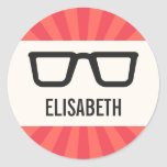 Nerdy name sticker labels with geeky glasses