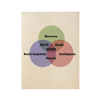 Nerdy Nerd Venn Diagram Wooden Wall Art