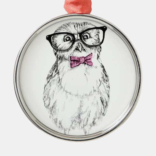 Nerdy owlуе small but smart round metal christmas ornament