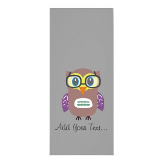 Nerdy owl 4x9.25 paper invitation card