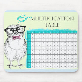 Nerdy Owl multiplication table Mouse Pad