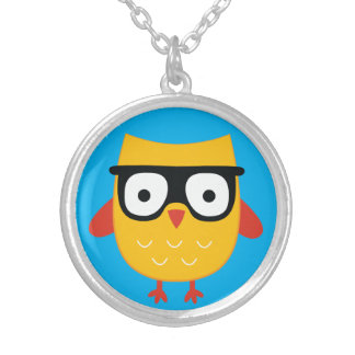 Nerdy owl silver plated necklace